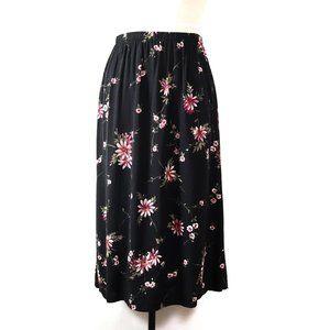 vintage dark botanical floral midi skirt XL/1X 90s